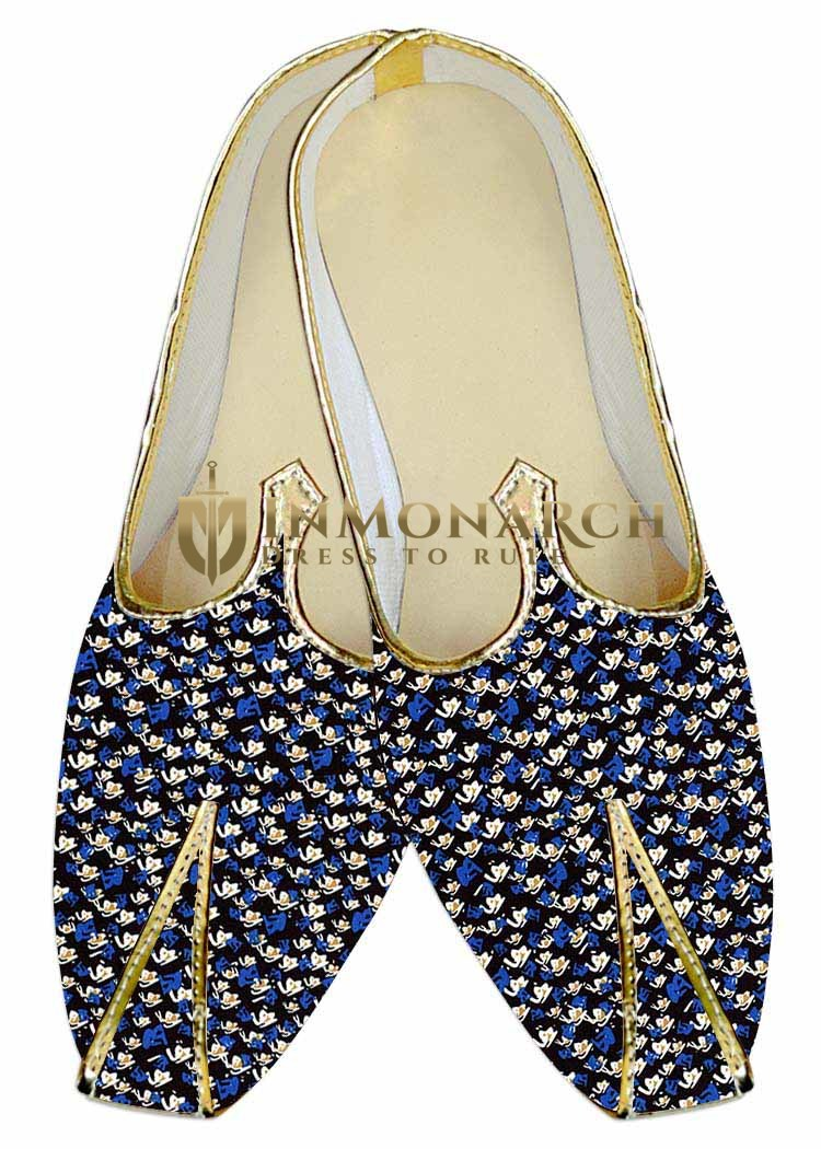 Mens Indian Bridal Shoes Black Wedding Shoes Printed Blue and White