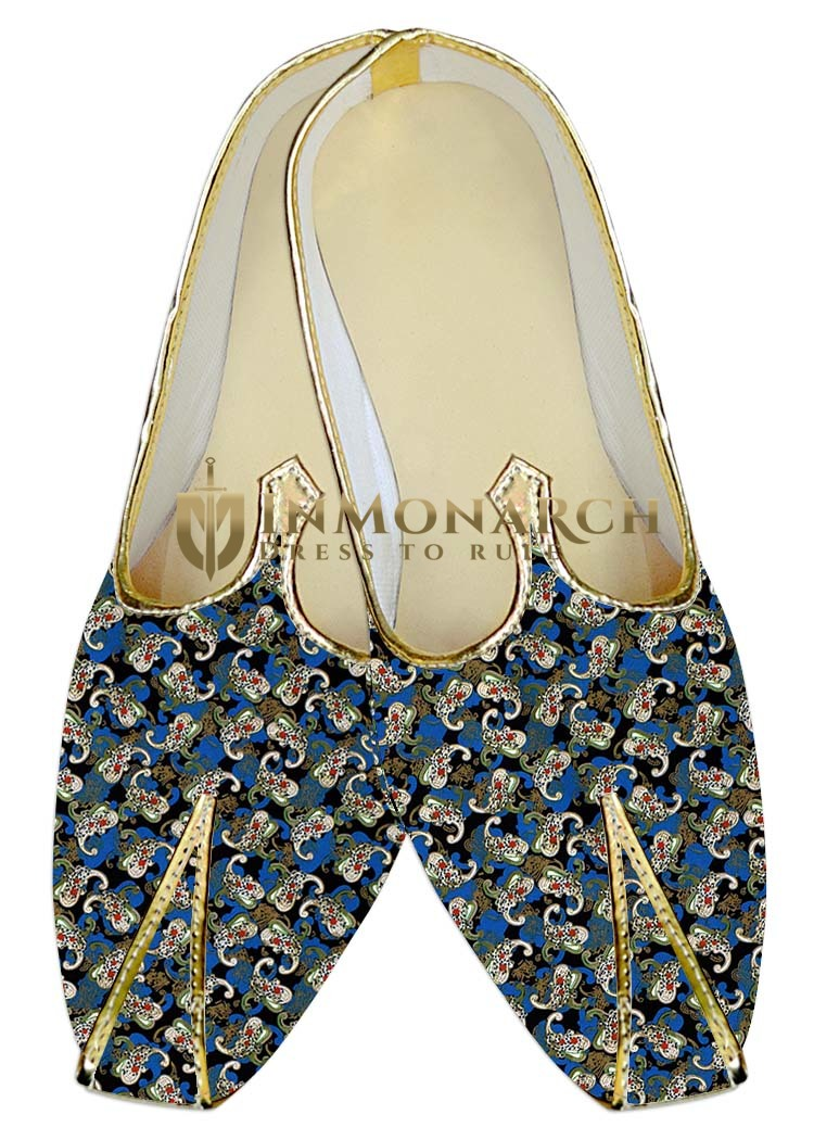 Indian WeddingShoes For Men Blue Wedding Shoes Floral Design