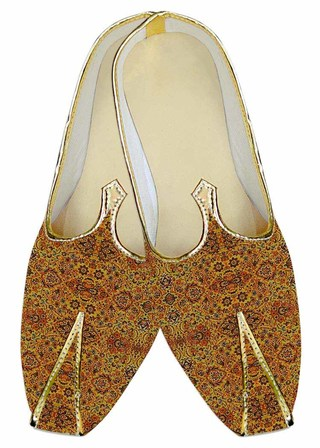 INMONARCH Indian Mens/Shoes Yellow Wedding Shoes Brown Design Juti MJ015183