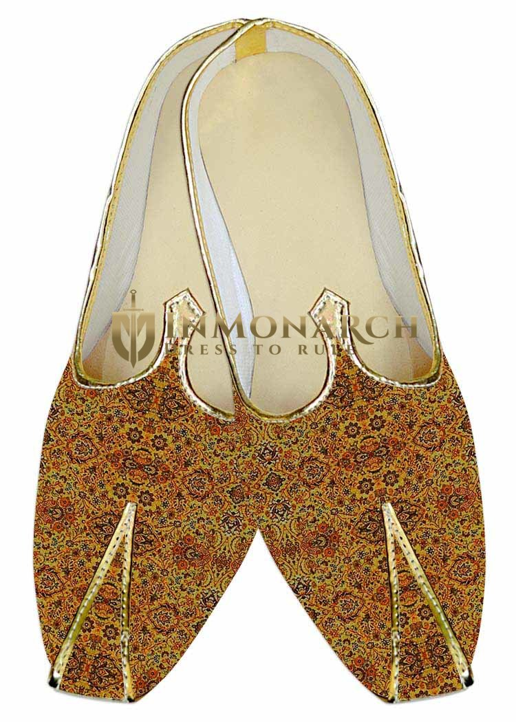 Indian Mens Shoes Yellow Wedding Shoes Brown Design Juti