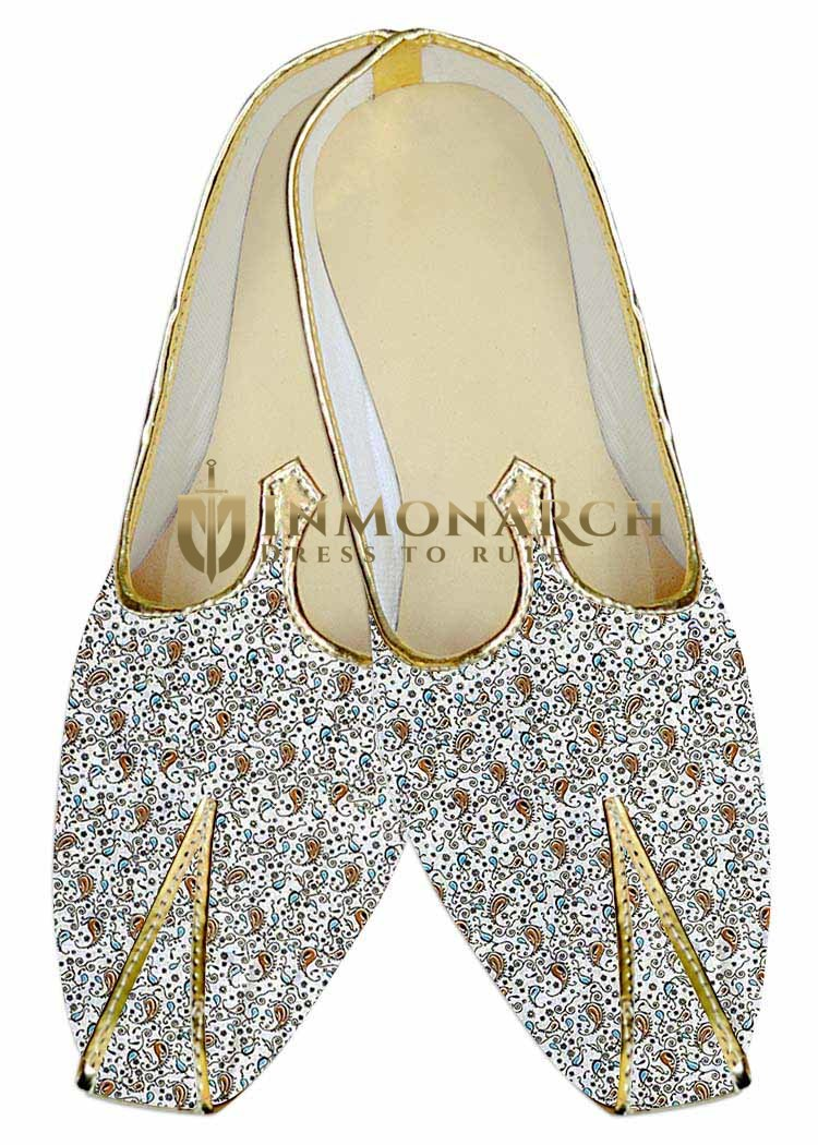Mens Indian Bridal Shoes Cream Wedding Shoes Paisley Printed