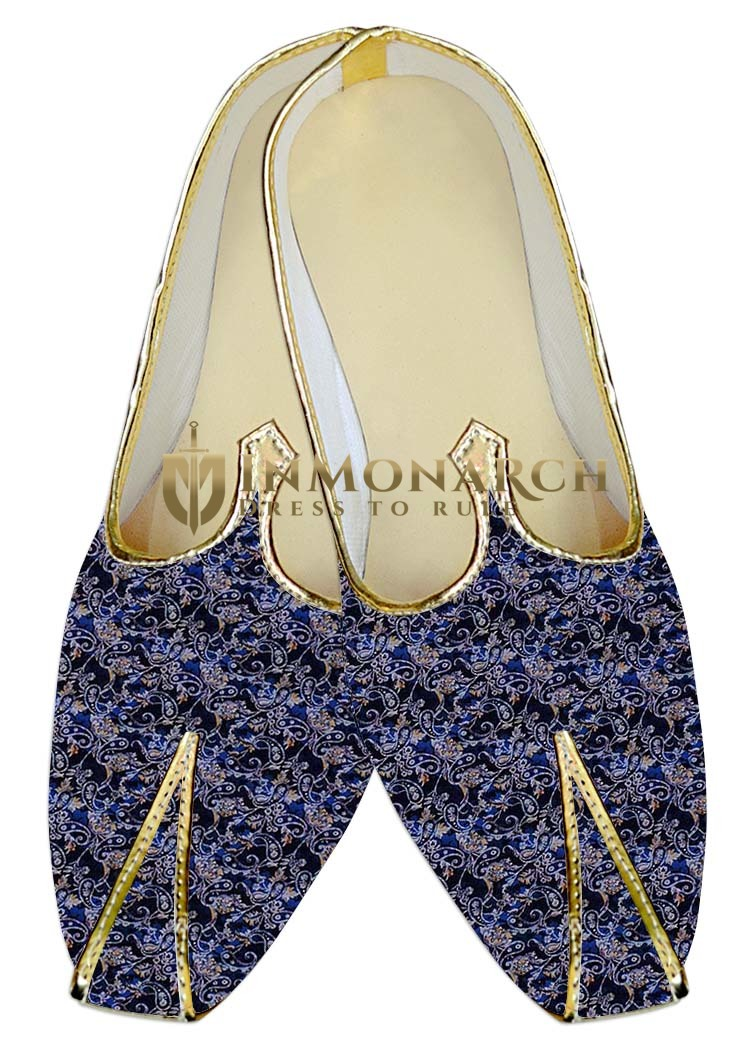 Mens Juti Navy Blue Wedding Shoes Paisley Pattern Sherwani Shoes