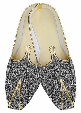Mens Juti Gray Wedding Shoes Geometric Design Sherwani Shoes