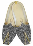 Mens Juti Gray Wedding Shoes Geometric Design Sherwani Shoes