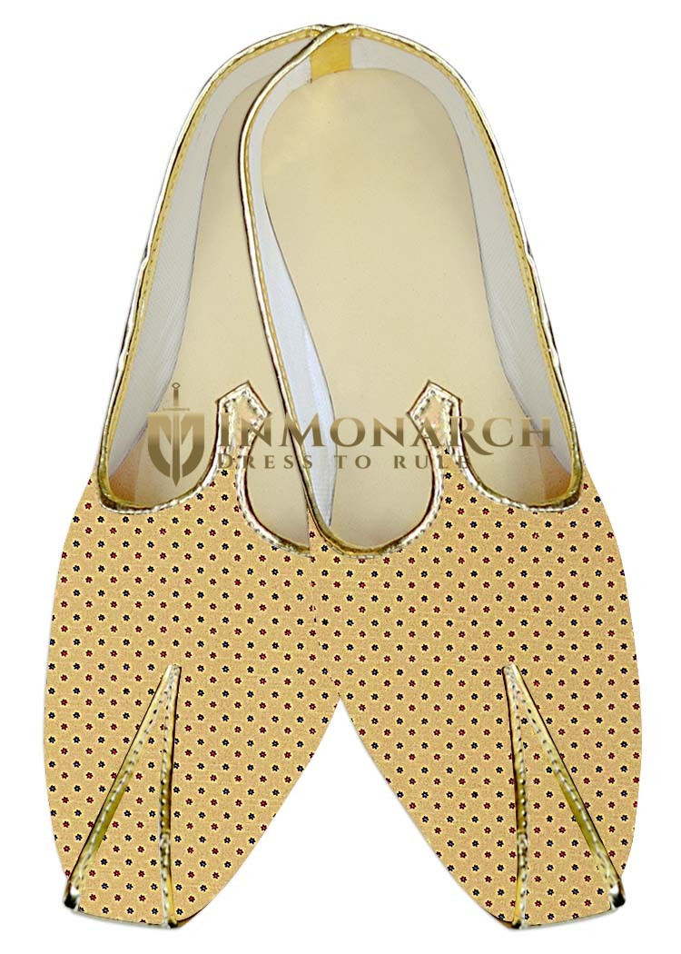 TraditionalShoes For Men Yellow Wedding Shoes Star Printed Indian Shoes