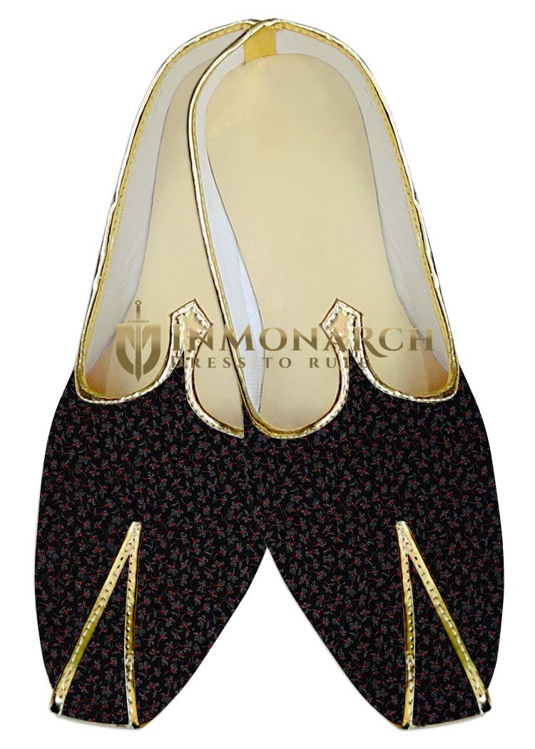 Mens Indian Bridal Shoes Black Wedding Shoes Floral Printed Indian Juti