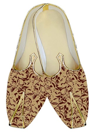 Mens Indian BridalShoes Peach Wedding Mojari Brown Print Indian WeddingShoes