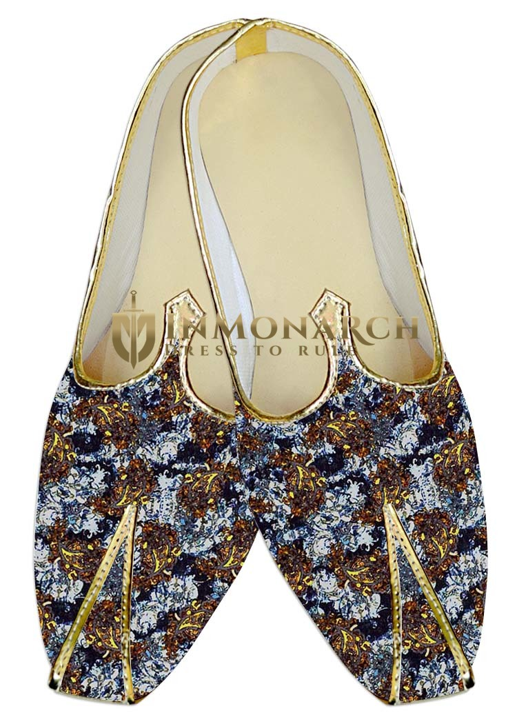 Mens Juti White Wedding Shoes Brown Paisley Sherwani Shoes