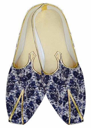 Mens Juti White Wedding Shoes Blue Printed Sherwani Shoes