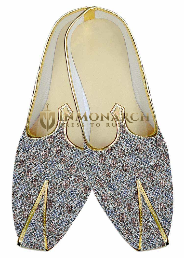 Mens Sherwani Shoes Sky Blue Wedding Shoes Square Pattern