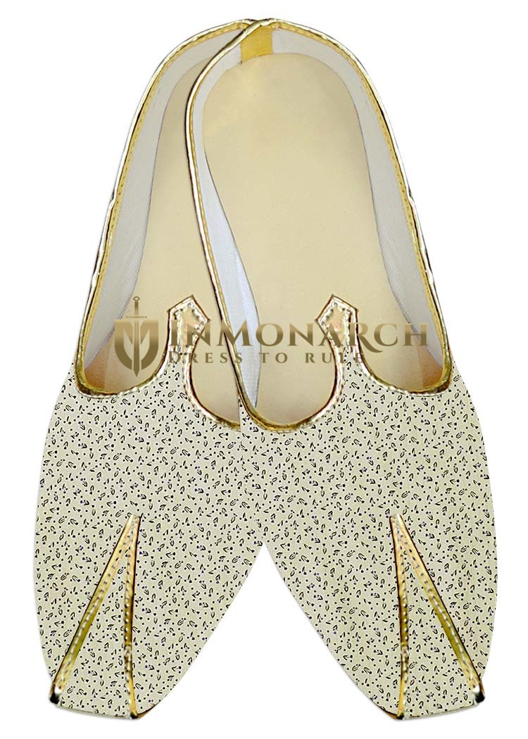 Indian WeddingShoes For Men Cream Wedding Shoes Printed Cotton