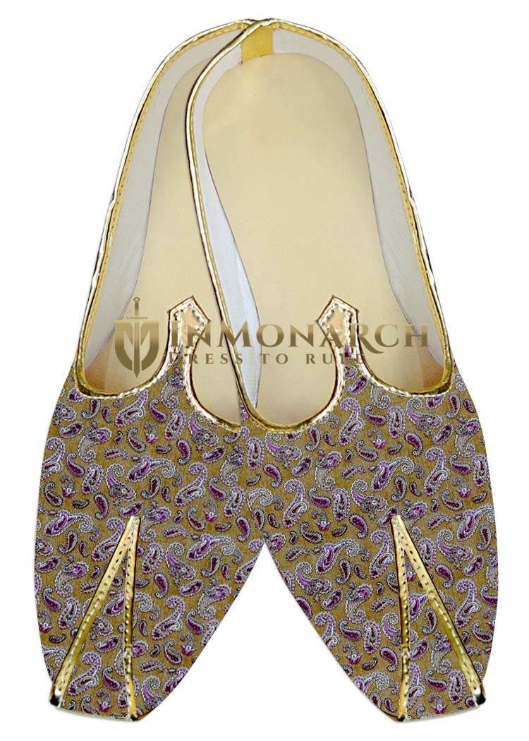 Traditional Shoes For Men Golden Wedding Shoes Purple Paisley