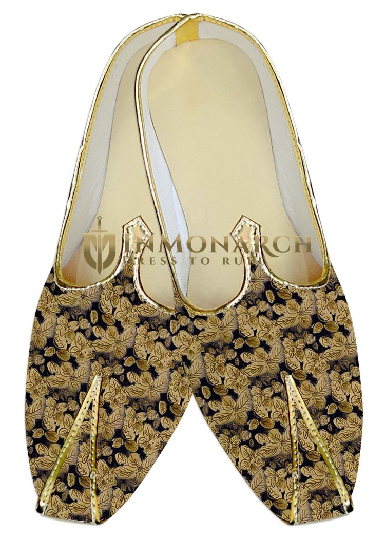 Mens Juti Bisque Wedding Shoes Flower Printed Sherwani Shoes