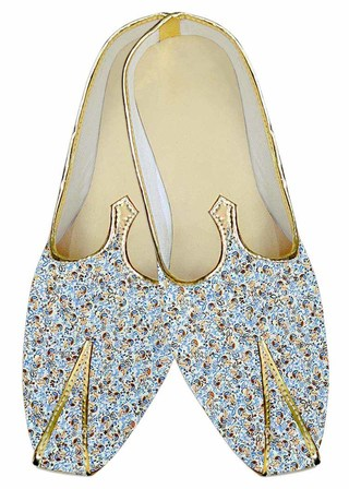 Mens Juti Sky Blue Wedding Footwear Paisley Sherwani Shoes