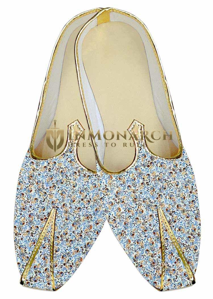 Mens Juti Sky Blue Wedding Footwear Paisley Sherwani Shoes