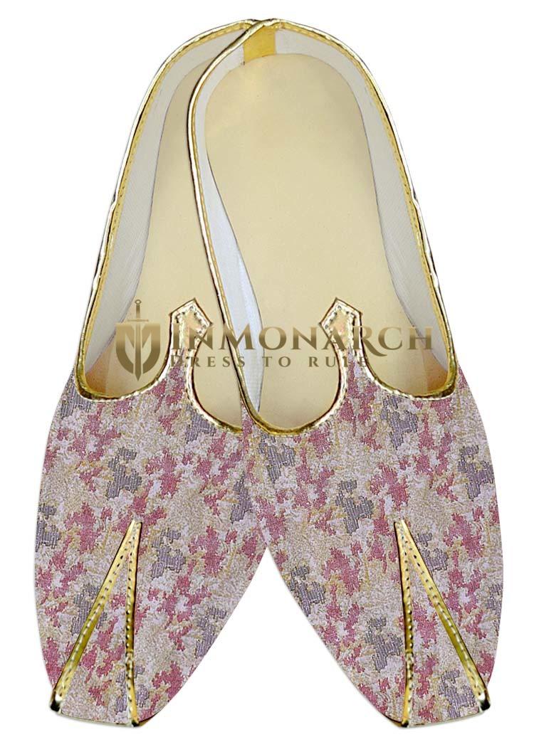 TraditionalShoes For Men Pink Wedding Footwear Designer Printed