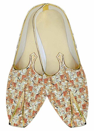 Indian MensShoes Peach Wedding Shoes Printed Cotton Juti