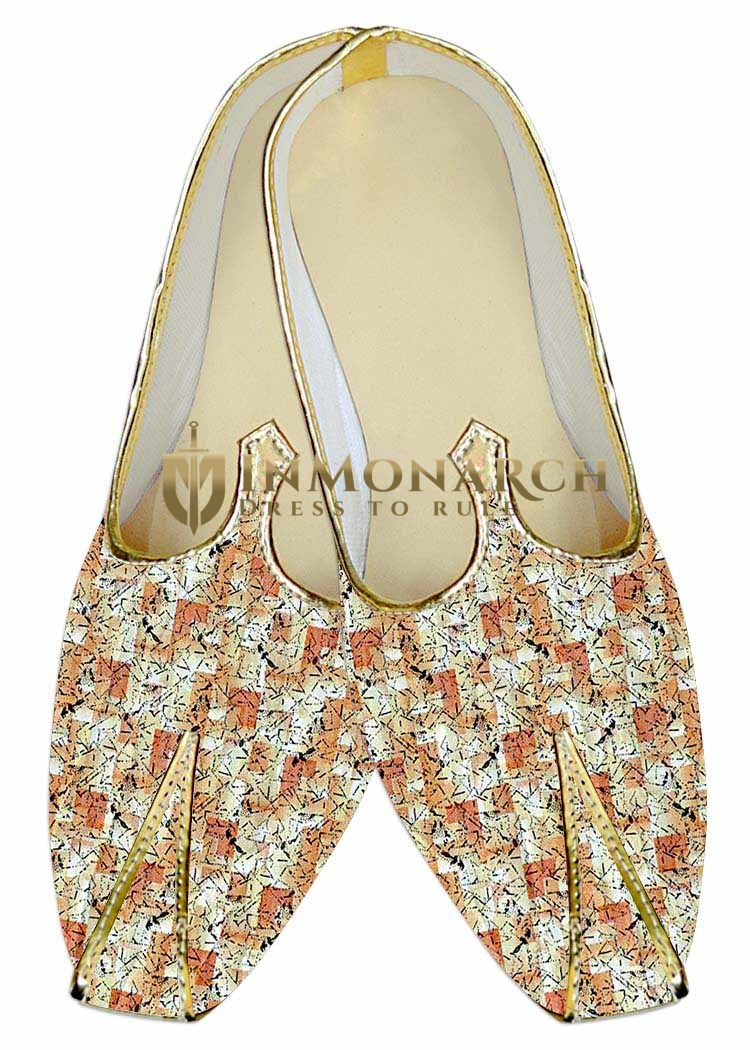 Indian Mens Shoes Peach Wedding Shoes Printed Cotton Juti