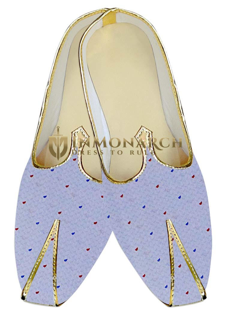 Mens Juti Lavender Wedding Shoes Polka Dots Sherwani Shoes