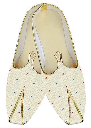 Mens Sherwani Shoes Ivory Wedding Shoes Polka Dot Juti