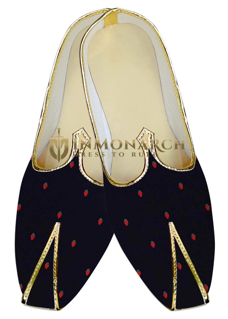 Mens Dark Navy Wedding Shoes Cherry Print MJ016097