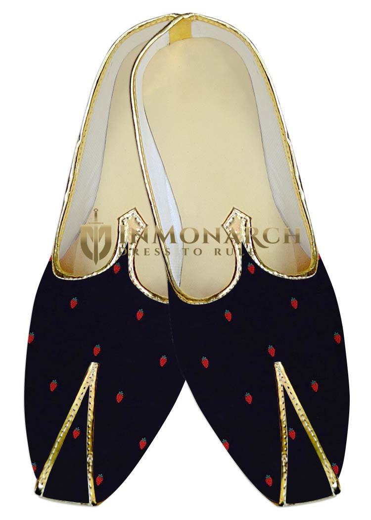 Juti ForMen Dark Navy Wedding Shoes Cherry Print ShoeFor Groom