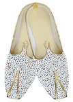 Indian Mens Shoes White Wedding Shoes Blue Fish Pattern