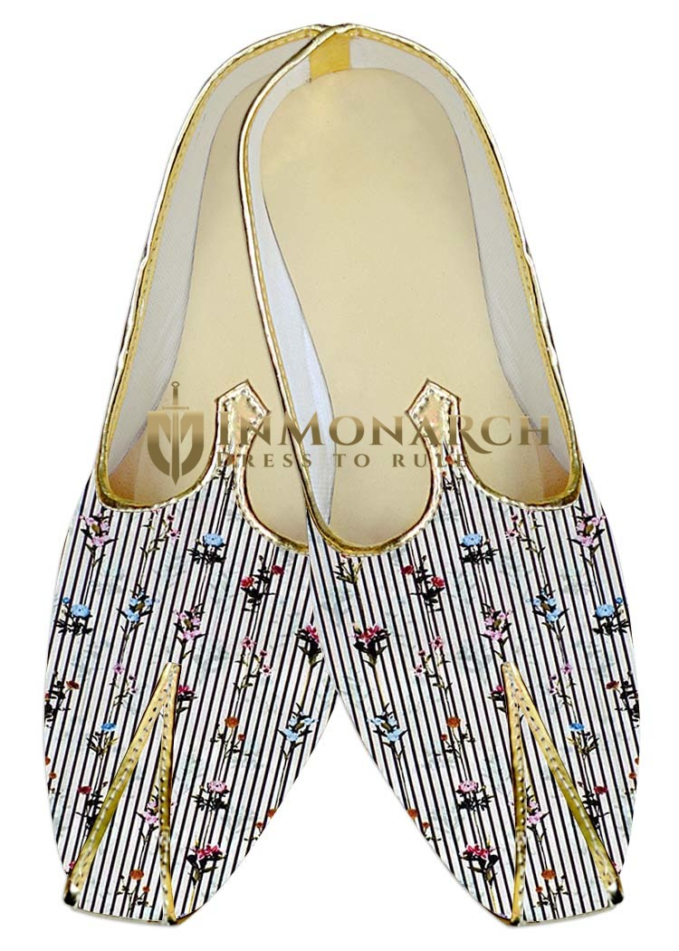 Mens Juti White Wedding Shoes Black Lining Printed Sherwani Shoes