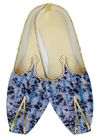 Mens Sherwani Shoes Lavender Wedding Shoes Navy Blue Printed