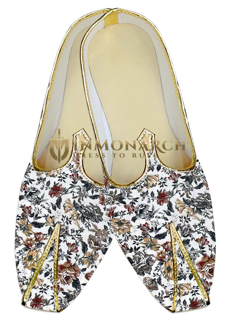 TraditionalShoes For Men White Wedding Shoes Gray Floral Print