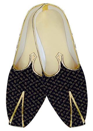 Mens Dark Navy Wedding Shoes Paisley Printed