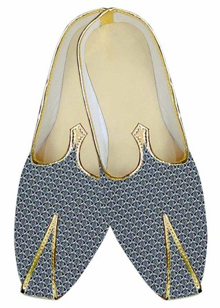 Mens Steel Blue Wedding Shoes Printed Cotton