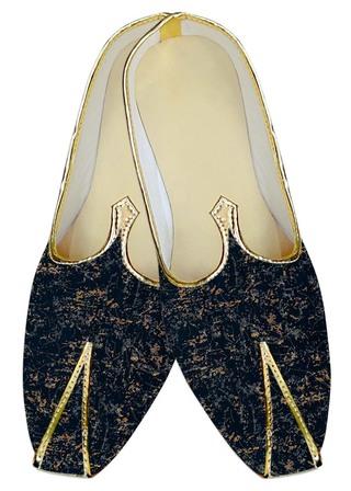 Mens Juti Dark Navy Wedding Shoes Brown Print Sherwani Shoes