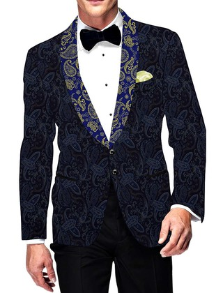 Mens Slim fit Casual Navy Blue Velvet Blazer sport jacket coat Paisley Design