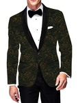 Mens Slim fit Casual Yellow Velvet Blazer sport jacket coat Paisley Two Button