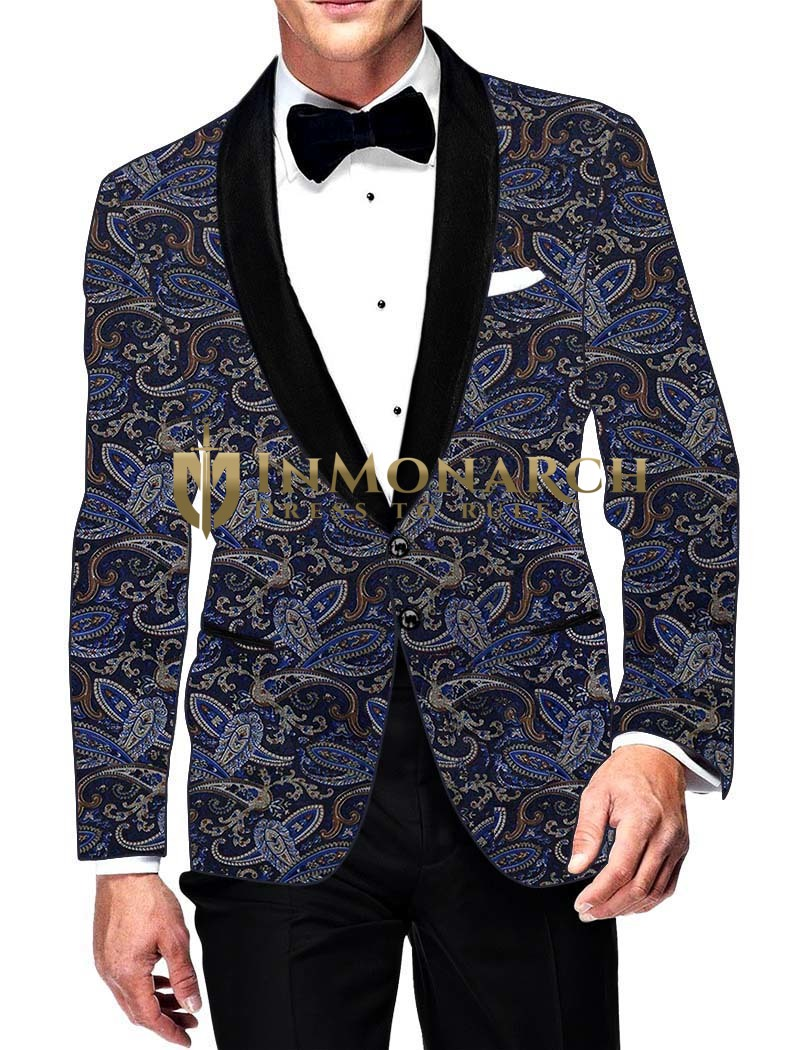 Mens Slim fit Casual Dark Navy Velvet Blazer sport jacket coat Multi Paisley Look