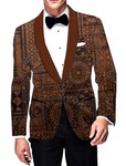 Mens Slim fit Casual Copper Velvet 2 Button Blazer sport jacket coat Circle Printed