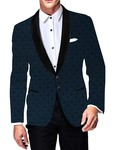 Mens Slim fit Casual Steel Blue Two Button Blazer sport jacket coat Designe Printed