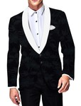 Mens Slim fit Casual Dark Blue Velvet Blazer sport jacket coat Floral Design