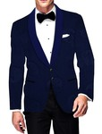 Mens Slim fit Casual Blue Blazer sport jacket coat Checker with Paisley Design