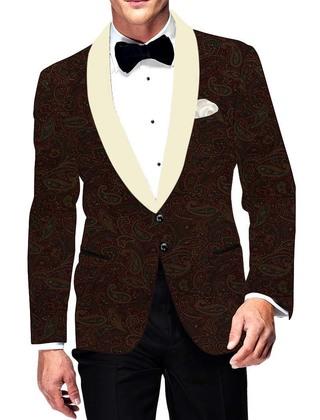 Mens Slim fit Casual Brown Velvet Paisley design Blazer sport jacket coat