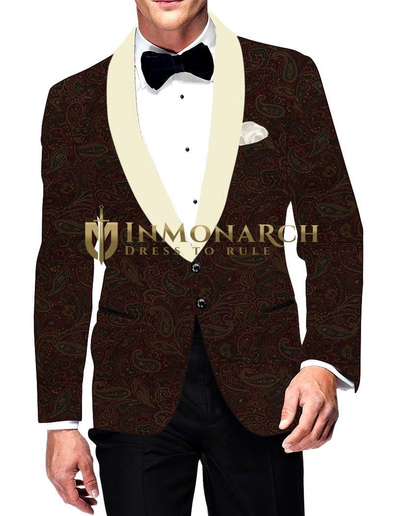 Mens Slim fit Casual Brown Velvet Paisley design Blazer sport jacket coat