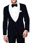 Mens Slim fit Casual Navy Blue Velvet Blazer sport jacket coat Thread Design