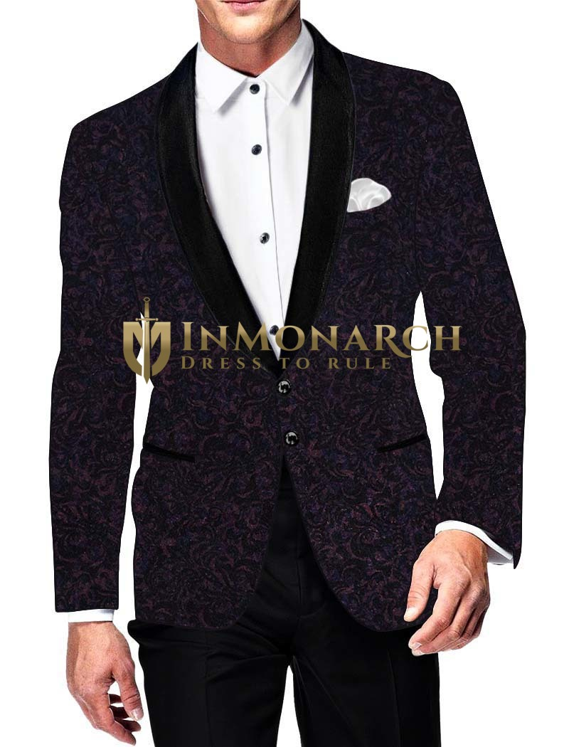 Mens Slim fit Casual Purple Wine Velvet Blazer sport jacket coat Floral Design