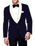 Mens Slim fit Casual Navy Blue Velvet Blazer sport jacket coat Casual