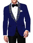 Mens Slim fit Casual Royal Blue Velvet Blazer sport jacket coat Partywear