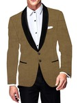 Mens Slim fit Casual Tan Velvet Blazer sport jacket coat Two Button Partywear