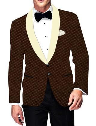 Mens Slim fit Casual Brown Velvet Blazer sport jacket coat Classic Look