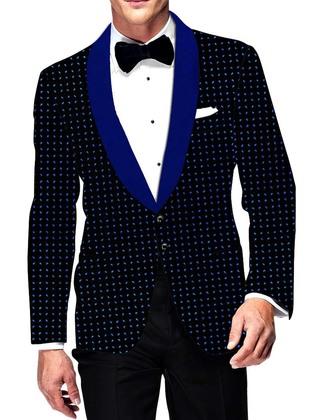 Mens Slim fit Casual Black Velvet Blazer Sport Jacket Coat