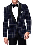 Mens Slim fit Casual Navy Blue Checks Blazer sport jacket coat Bollywood
